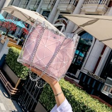 Women Jelly Transparent Bucket Shoulder Bag Chain Handle Ladies Fashion Bag