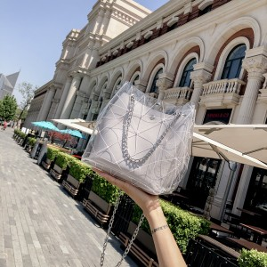 Women Jelly Transparent Bucket Shoulder Bag Chain Handle Ladies Fashion Bag