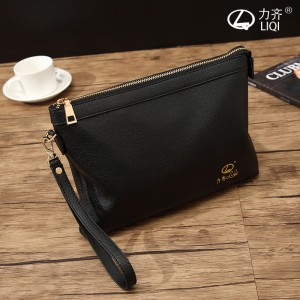 Men's Black Soft Leather Business Hand Bag Fashion Trend Envelope Clutch Bag