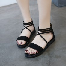 Women Velvet Strap Sandals Back Zipper Open Toe Chic Fashion Plus Size Sandals