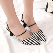 Women Suede Pointed Retro Sandals Convertible Shoes Chic Fashion High Heels