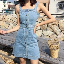 Women Simple Denim Dress Strap Sleeveless Sim Fit Chic Fashion Female Dress