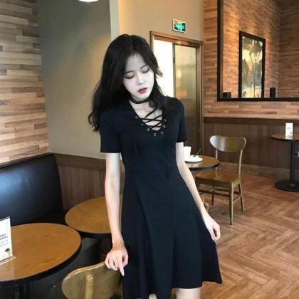 Women Little Black Dress Tie V Neck Short Sleeve Classic Fashion Chic Dress