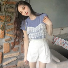 Women Lace Top Off Shirt Round Neck Short Sleeve Chic Fashion Ladies T Shirt