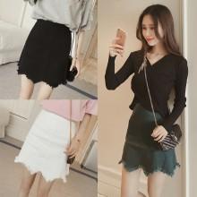 Women Denim High Waist Irregular Hem Short Skirt Slim Fit Wavy Chic Ladies Skirt