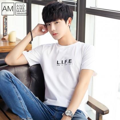 Men's Statement T Shirt Short Sleeve Basic Round Neck Plus Size Cotton Shirt