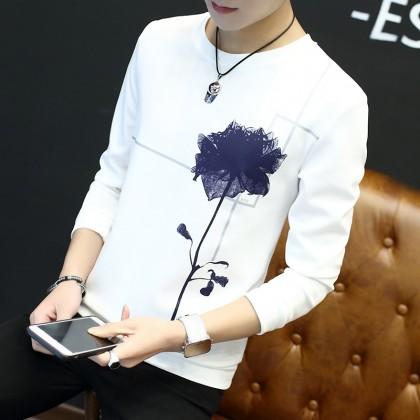 Men's Korean Fashion Long Sleeve Round Neck Jacket Spring Trend Plus Size Shirt