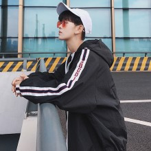 Men's Loose Thin Coat K Pop Fashion Wild Hooded Zippered Handsome Trend Jacket
