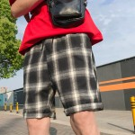 Men's Plaid Loose Cotton Shorts Sports Fashion Wild Trend Male Summer Shorts