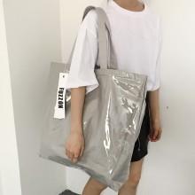 Women Silver Gray Waterproof Large Capacity Tote Bag Travel Fashion Shoulder Bag