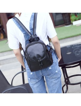 Women Black Leather Mini Chic Fashion Backpack Dual Use Chest Bag Backpack