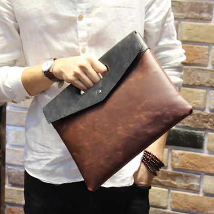 Men's Crazy Horse Leather Envelope Clutch Bag Casual File Package Male Hand Bag