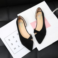 Women Suede Pointed Scoop Shoes Soft Bottom Ladies Fashion Plus Size Flats