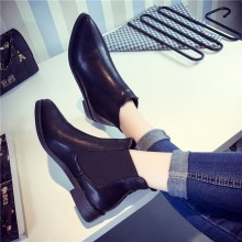 Women Black Pointed Martin Boots Low Heel Classy Fashionable Plus Size Boots