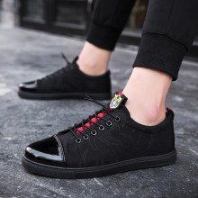 Men's Black Wild Trend Lace Up Casual Shoes Flat Bottom Student Fashion Shoes