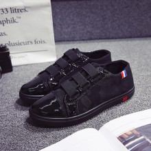 Men's Black Velcro Strap Pedal Shoes Casual Student Fashion Trend Male Flat Shoe