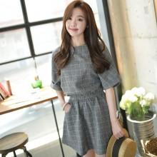 Women Cotton Linen Plaid Dress Loose Bat Sleeve Mid Length Skirt Plus Size Dress