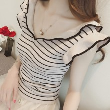Women Knit V Neck Flying Sleeves Slim Fit Summer Trend Ladies Fashion Blouse