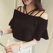 Women Black Strap Cold Off Shoulder Blouse Summer Fashion Plus Size Ladies Tops