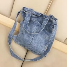 Women Denim Canvas Hand Bag Retro Trend Student Fashion One Strap Shoulder Bag