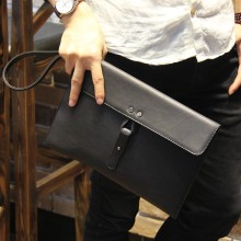 Men's Black Leather Casual Business Envelope File Package Male Fashion Hand Bag