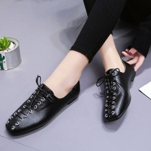 Women Square Head Tie Knot Style Wild Trend New Fashion Ladies Flat Shoes