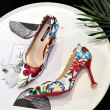 Women Floral Sexy Pointed High Heels Wild Trend Ladies Classy Fashion Shoes