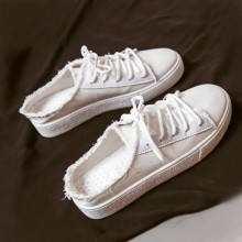 Women Tattered Lace Up Sneakers No Heel Canvas Summer Fashion Lazy Shoes