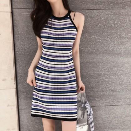 Women Striped Sleeveless Strap Dress Slim Fit Mid Skirt Ladies Fashion Dress