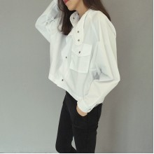 Women Casual Button Up Long Sleeve Outerwear Loose Spring Ladies Fashion Jacket