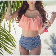 Women Sexy High Waist Two Piece Bikini Set Ruffled Bra Plus Size Summer Swimwear