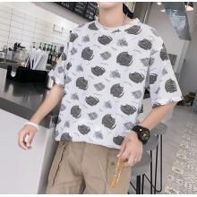 Men's Cartoon Print Basic Cute Tees Loose Summer Beach Fashion Male T Shirt