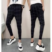 Men's Black Plaid Slim Fit Harem Pants Low Waist Cropped Pants Plus Size Bottom