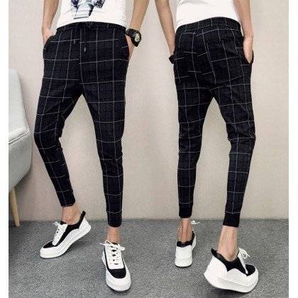 Men's Black Plaid Slim Fit Harem Pants Low Waist Cropped Pants Plus Size Bottom