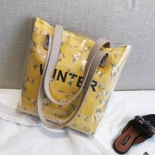 Women Transparent Double Jelly Bag Big Capacity Shoulder Ladies Fashion Tote Bag