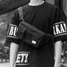Men's Black Multi Function Chest Bag Mini Messenger Street Trend Cross Body Bag