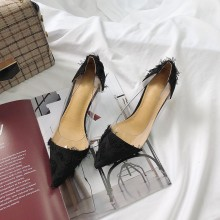 Women Pointed Tassel Transparent Sexy High Heels Fashion Fairy Chic Stiletto