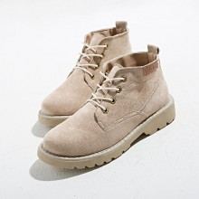 Women Suede Martin High Cut Boots Ladies Fashion Street Trend Lace Up Boots