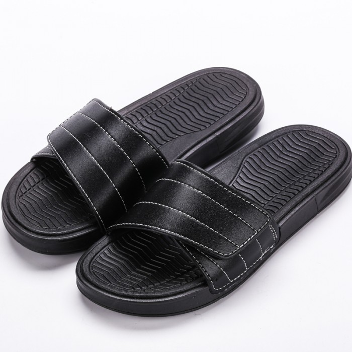 b5e08b27c38d Men s Velcro Leather Surface Summer Fashion Slippers Indoor ...