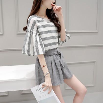 Women Gray Stripe Loose Dress Skirt Set Ruffled Elephant Sleeve Plus Size Dress