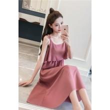 Women Sleeveless Bow Tie Long Ruffled Dress Chiffon Style Ladies Fashion Dress