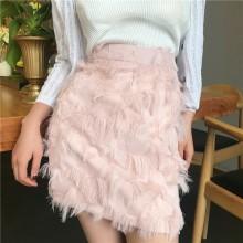 Women Feathery High Waist Hip Skirt Sweet Fairy Fashion Retro Chic Cute Skirt