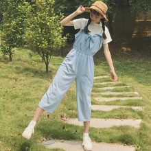Women Casual Strap Sleeve Jumpsuit Bow Tie High Waist Crop Pants Chic Fashion