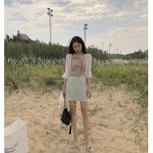 Women Mesh Sun Protection Ruffled Trumpet Sleeve Chiffon Chic Fashion Cardigan