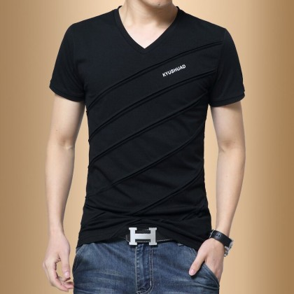 Men's Cotton V Neck Short Sleeve Casual Shirt Handsome Fashion Plus Size Tees