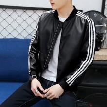 Men's Leather Baseball Motorcycle Jacket Zippered Long Sleeve Plus Size Jacket