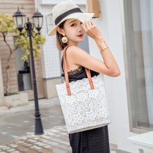 Women Lace Floral Tote Bag Portable Shopping Bag Chic Fashion Shoulder Bag