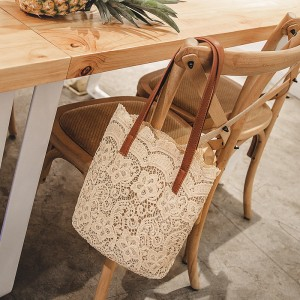 Women Lace Floral Tote Bag Portable Shopping Bag Chic Fashion Shoulder Bag