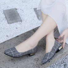 Women Pointed Plaid Grandma Shoes Daily Wear Casual Plus Size Low Heel Shoes