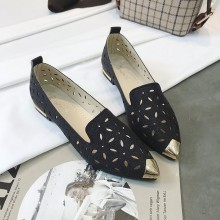 Women Pointed Buckle Shoes Carved Flower Breathable Fashion Shoe Plus Size Flats